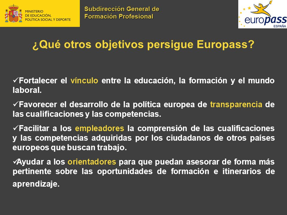 ¿Qué otros objetivos persigue Europass