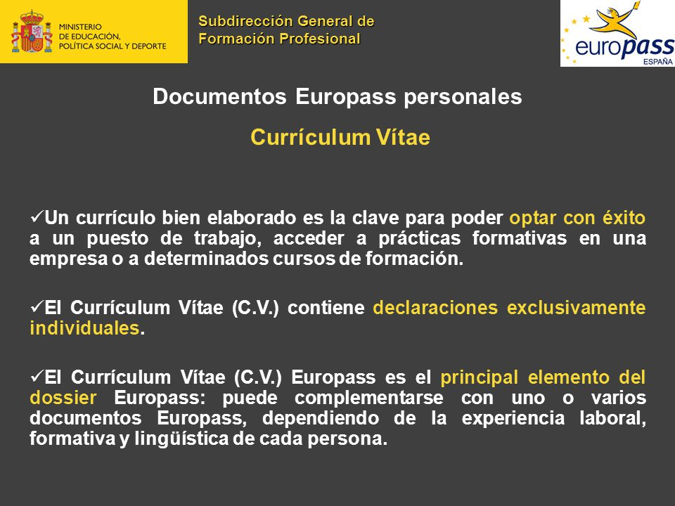 Documentos Europass personales