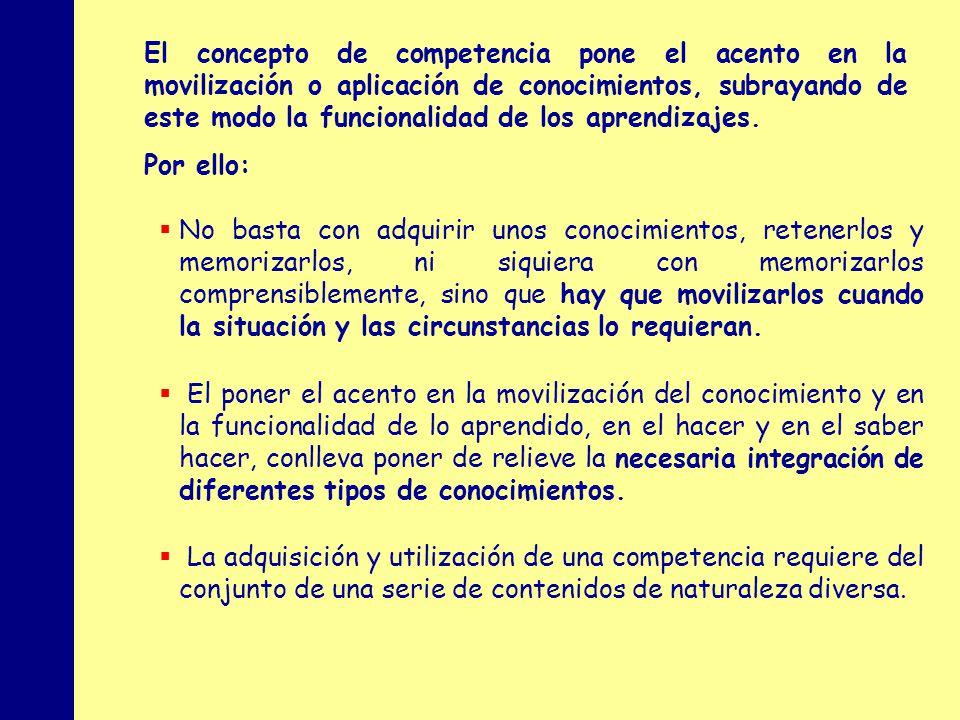 El concepto de competencia pone el acento en la movilización o aplicación de conocimientos, subrayando de este modo la funcionalidad de los aprendizajes.