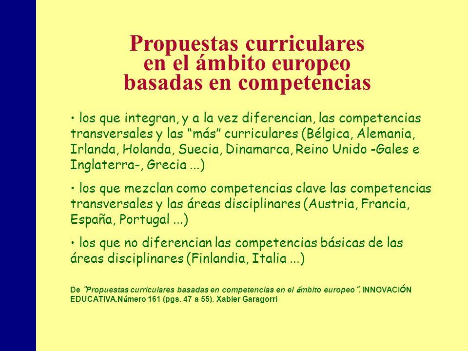 Propuestas curriculares basadas en competencias