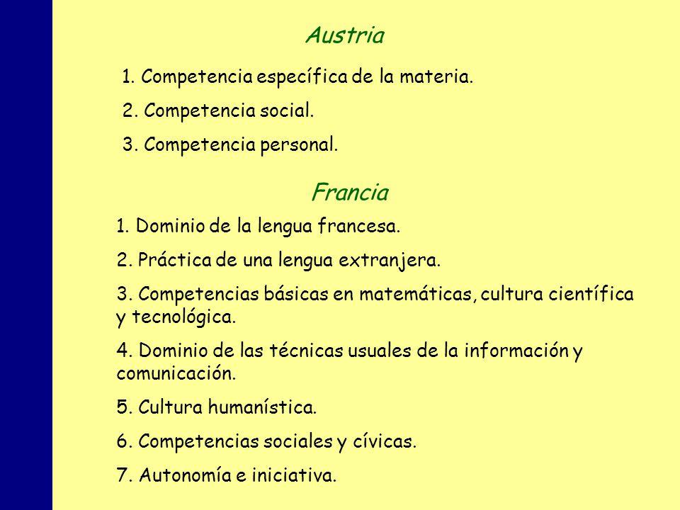 Austria Francia 1. Competencia específica de la materia.