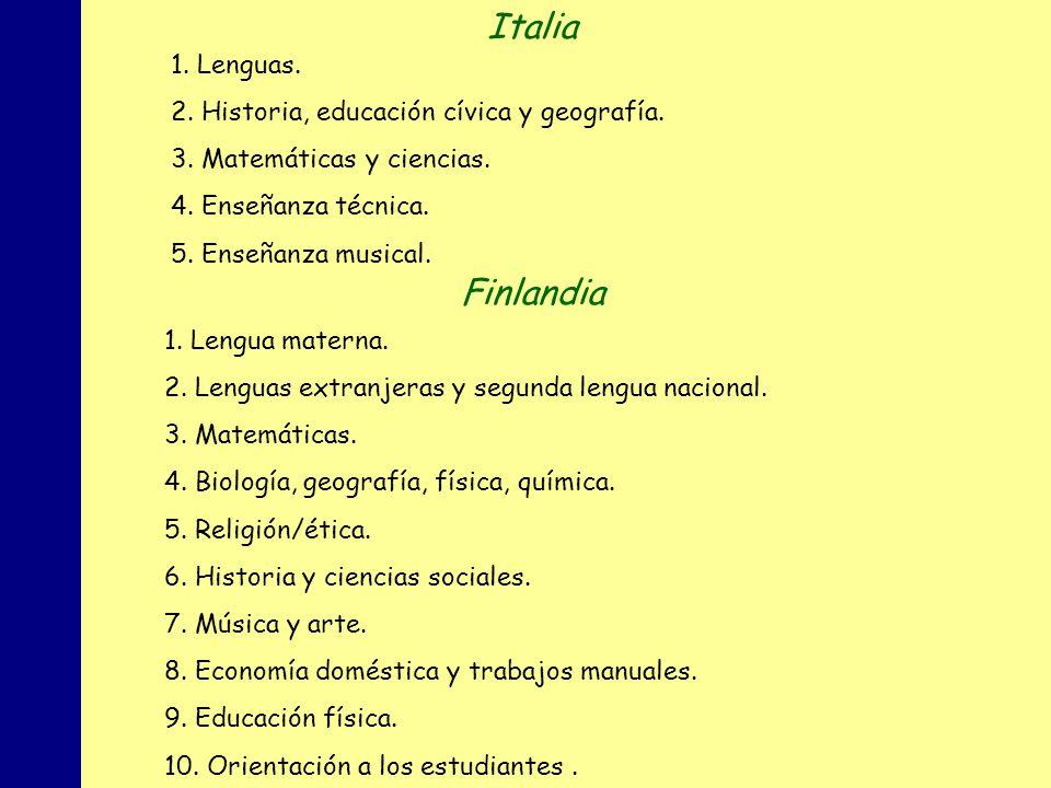 Italia Finlandia 1. Lenguas.