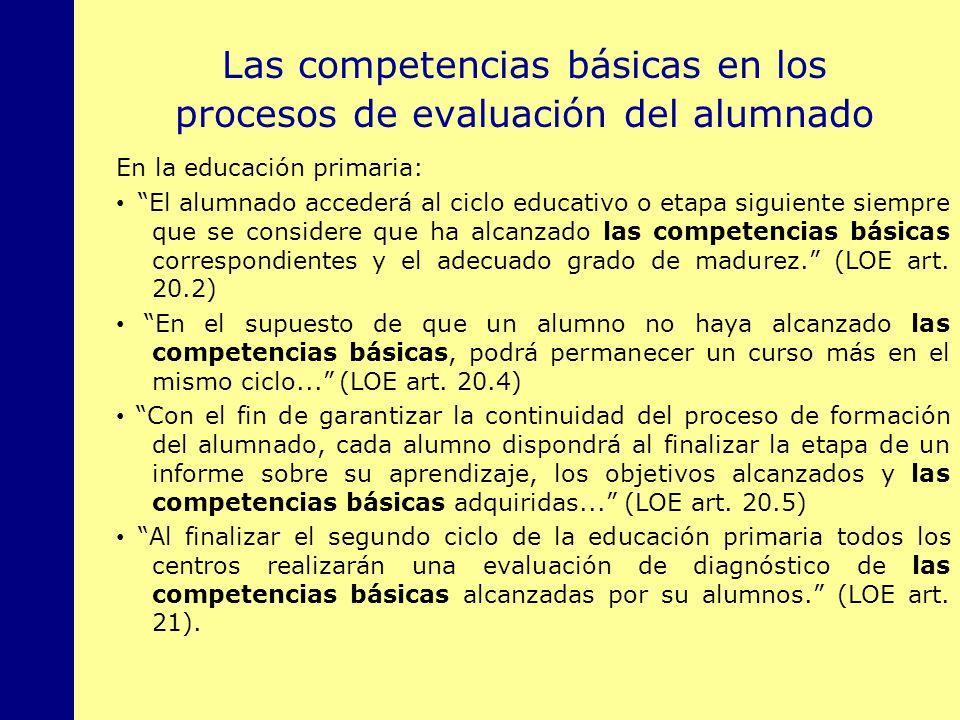 Las competencias básicas en los procesos de evaluación del alumnado