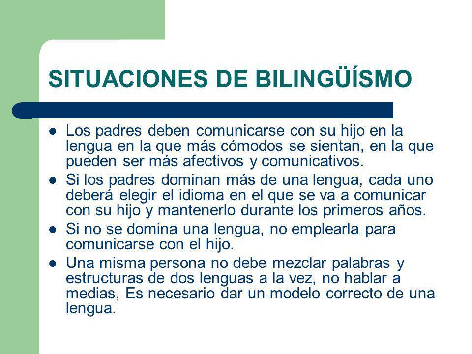 SITUACIONES DE BILINGÜÍSMO