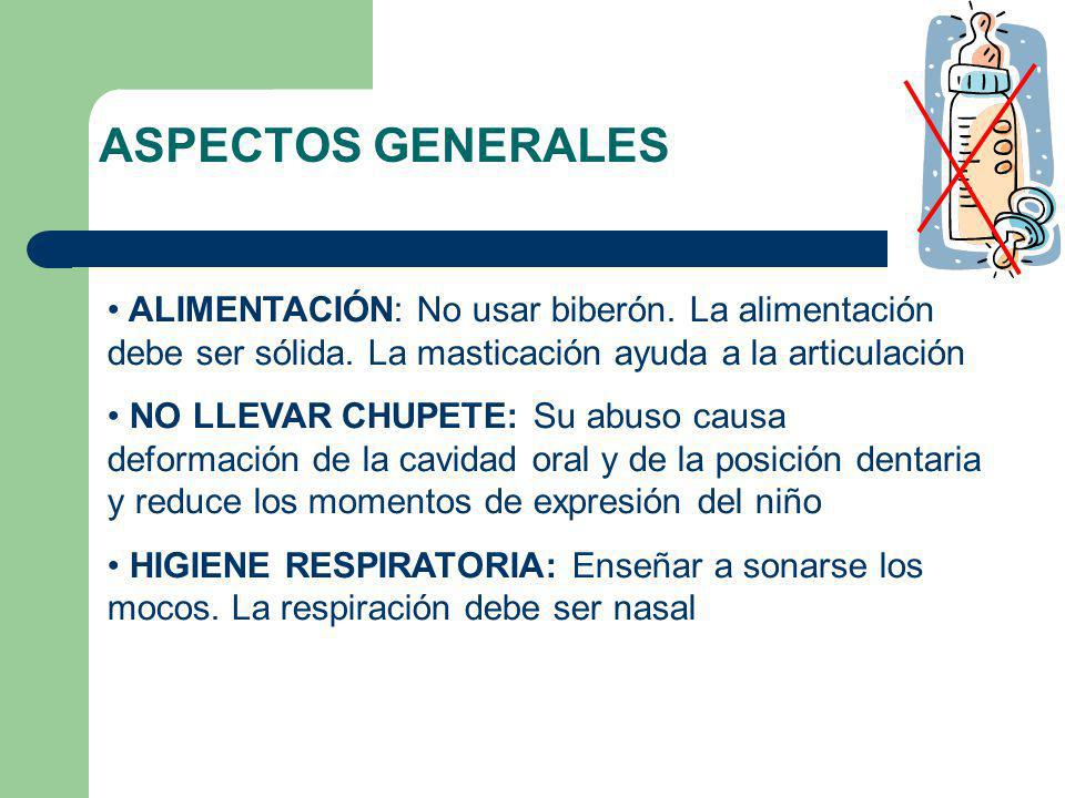 ASPECTOS GENERALES ALIMENTACIÓN: No usar biberón. La alimentación debe ser sólida. La masticación ayuda a la articulación.