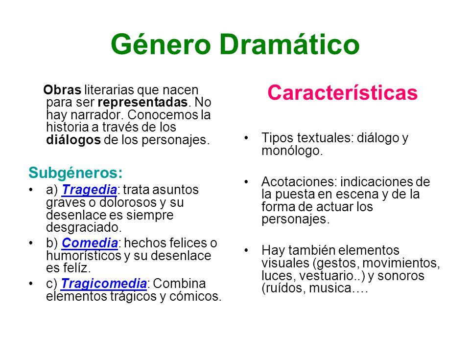 Género Dramático Características Subgéneros: