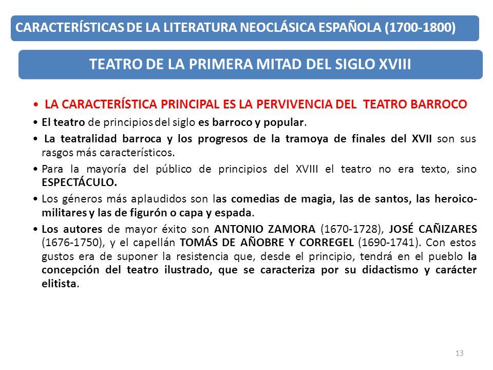 TEATRO DE LA PRIMERA MITAD DEL SIGLO XVIII