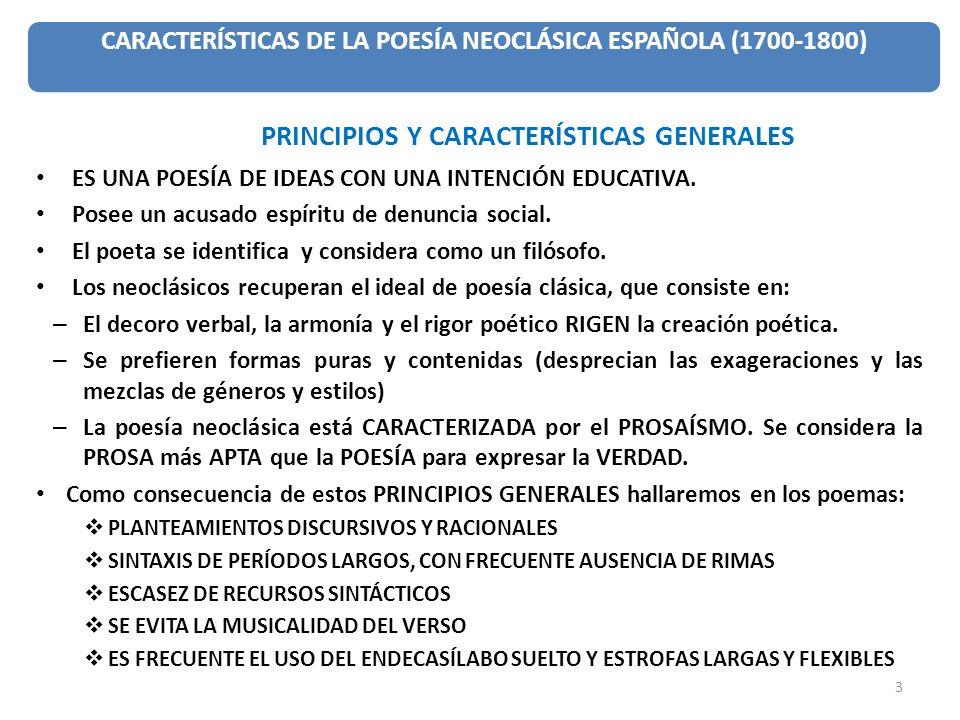 CARACTERÍSTICAS DE LA POESÍA NEOCLÁSICA ESPAÑOLA (1700-1800)