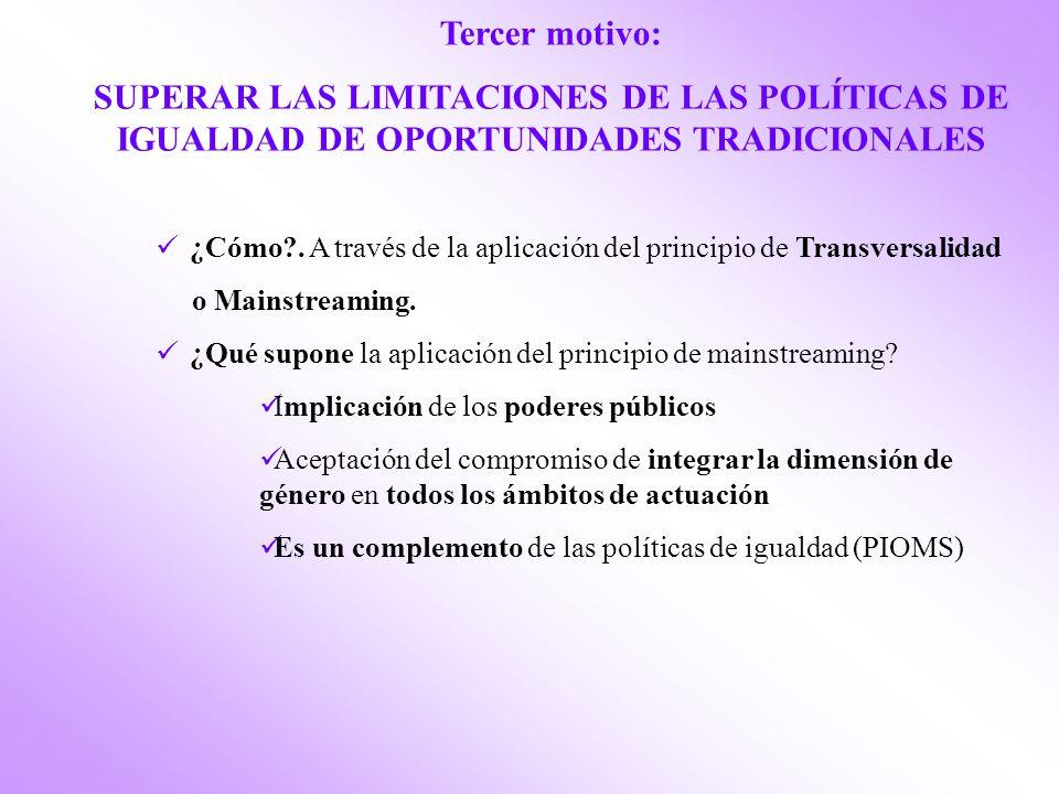 Tercer motivo: SUPERAR LAS LIMITACIONES DE LAS POLÍTICAS DE IGUALDAD DE OPORTUNIDADES TRADICIONALES.
