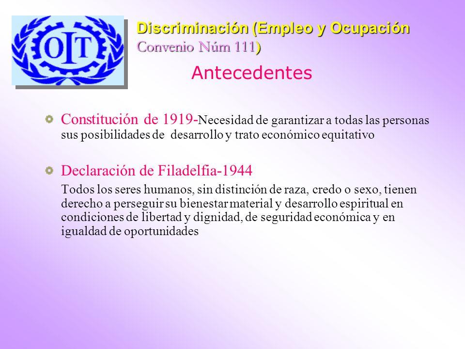 Antecedentes Discriminación (Empleo y Ocupación Convenio Núm 111)