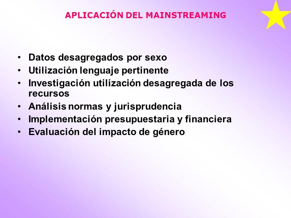 APLICACIÓN DEL MAINSTREAMING