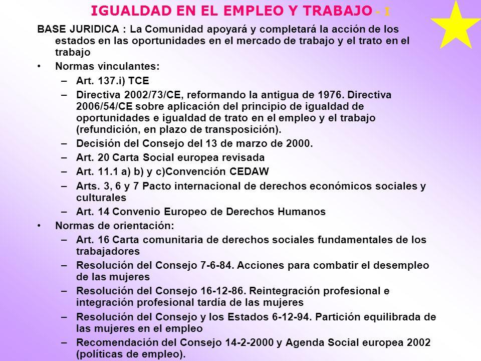 IGUALDAD EN EL EMPLEO Y TRABAJO - I
