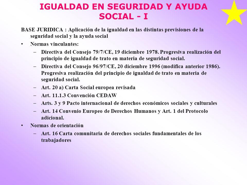 IGUALDAD EN SEGURIDAD Y AYUDA SOCIAL - I