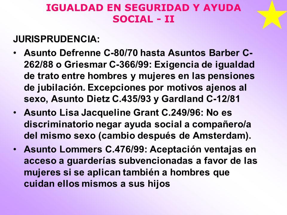 IGUALDAD EN SEGURIDAD Y AYUDA SOCIAL - II
