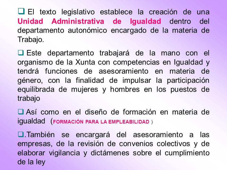 El texto legislativo establece la creación de una Unidad Administrativa de Igualdad dentro del departamento autonómico encargado de la materia de Trabajo.