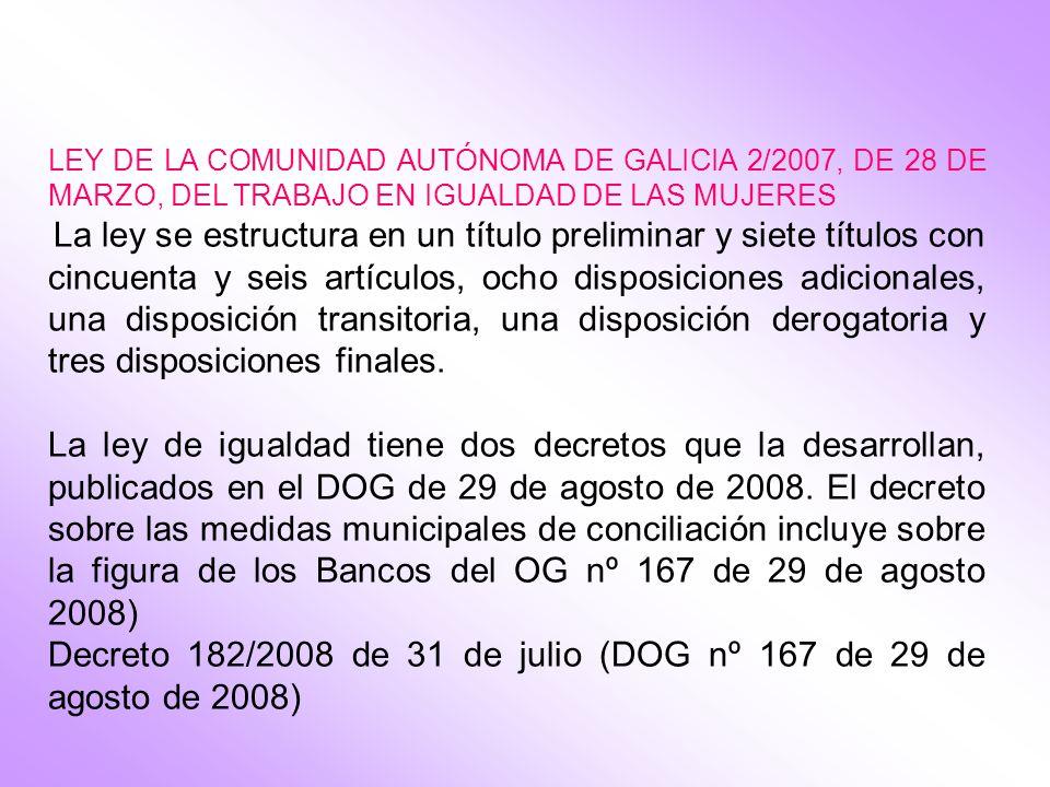 Decreto 182/2008 de 31 de julio (DOG nº 167 de 29 de agosto de 2008)