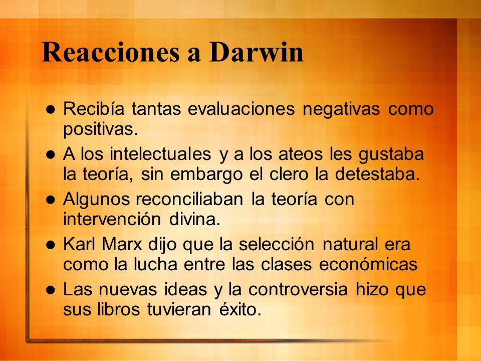 Reacciones a Darwin Recibía tantas evaluaciones negativas como positivas.