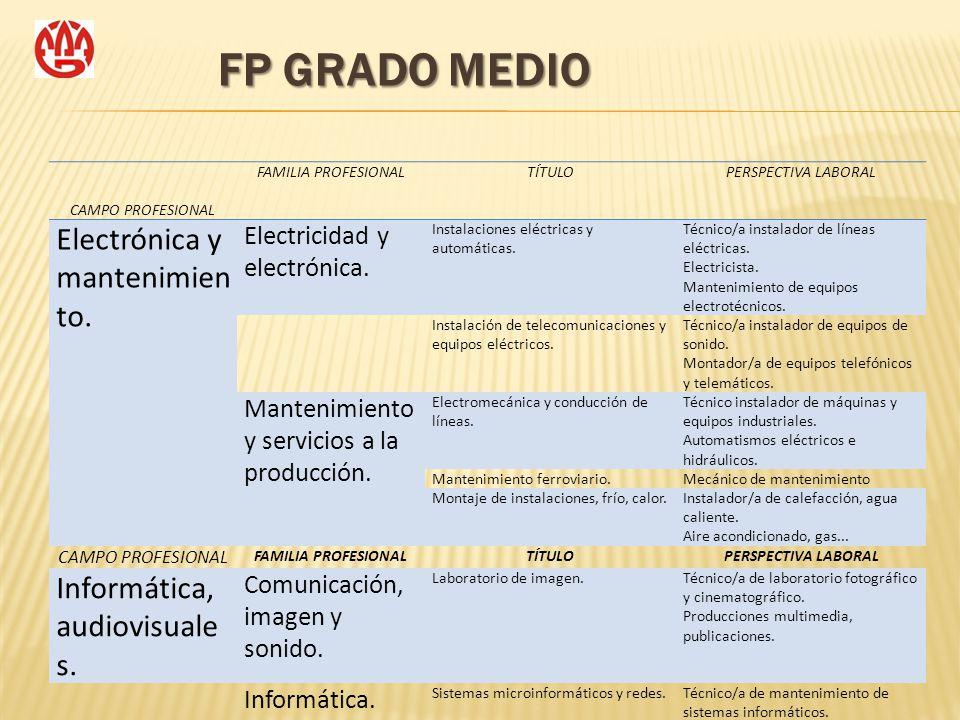 FP GRADO MEDIO CAMPO PROFESIONAL Electrónica y mantenimiento.