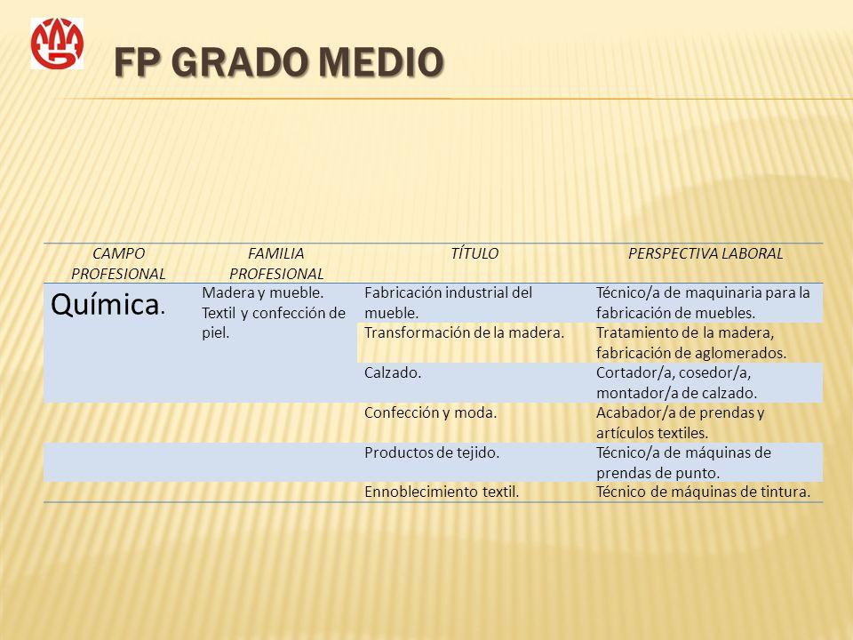 FP GRADO MEDIO Química. CAMPO PROFESIONAL FAMILIA PROFESIONAL TÍTULO