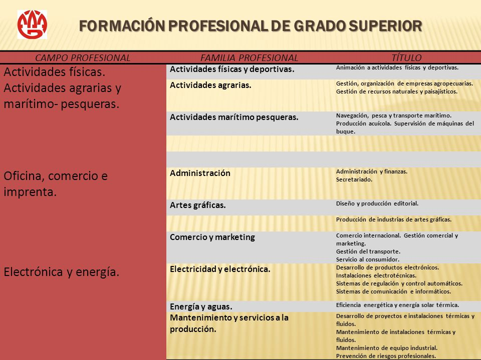 FORMACIÓN PROFESIONAL DE GRADO SUPERIOR