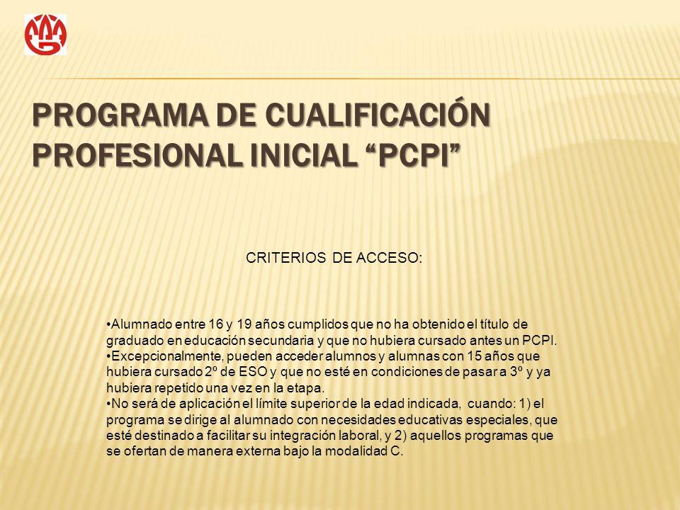 PROGRAMA DE CUALIFICACIÓN PROFESIONAL INICIAL PCPI