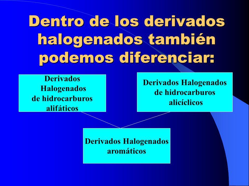 Dentro de los derivados halogenados también podemos diferenciar: