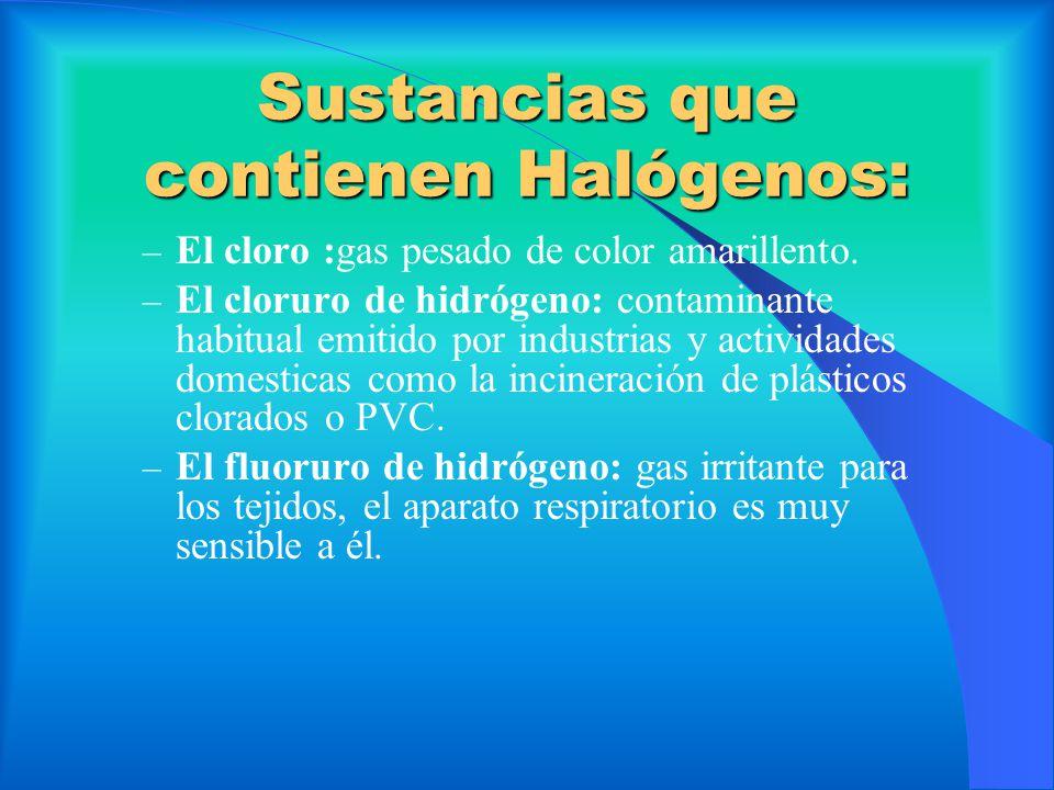 Sustancias que contienen Halógenos: