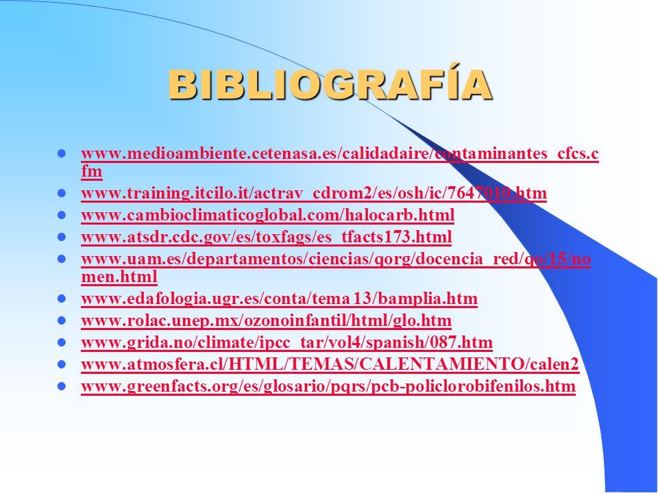 BIBLIOGRAFÍA www.medioambiente.cetenasa.es/calidadaire/contaminantes_cfcs.cfm. www.training.itcilo.it/actrav_cdrom2/es/osh/ic/7647010.htm.