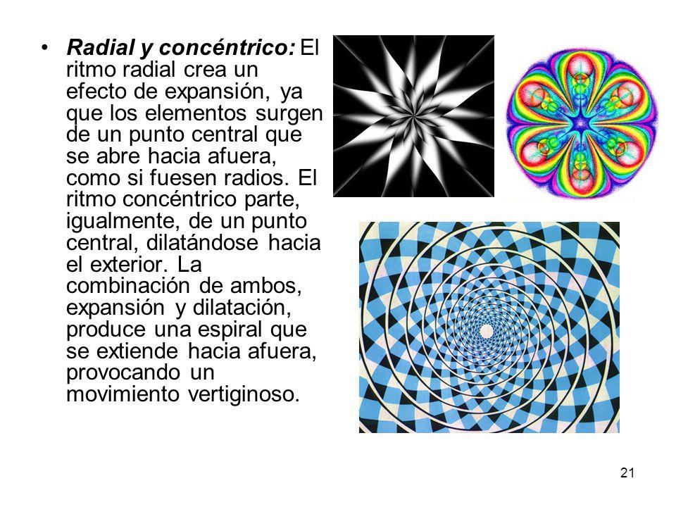 Radial y concéntrico: El ritmo radial crea un efecto de expansión, ya que los elementos surgen de un punto central que se abre hacia afuera, como si fuesen radios.