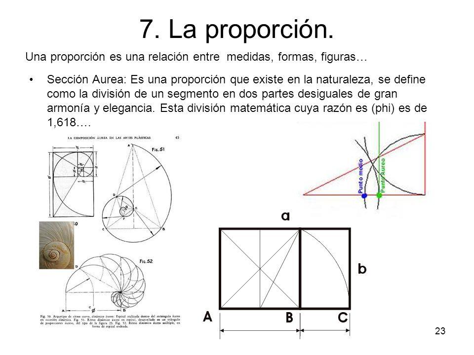 7. La proporción. Una proporción es una relación entre medidas, formas, figuras…