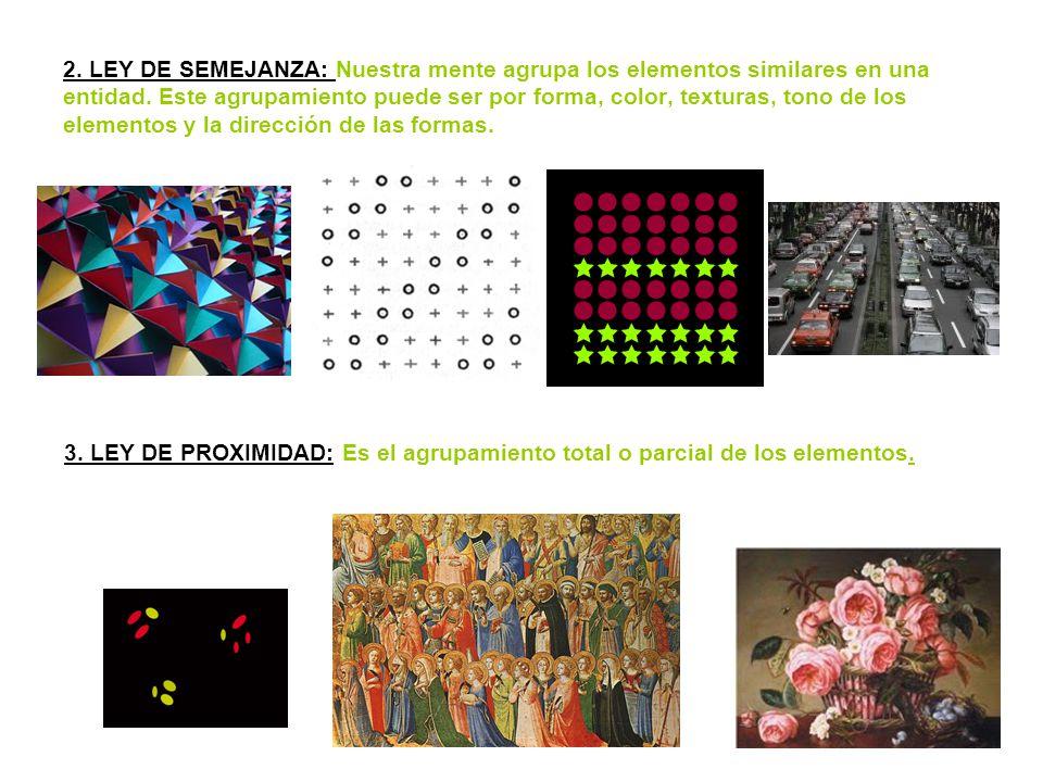 2. LEY DE SEMEJANZA: Nuestra mente agrupa los elementos similares en una entidad. Este agrupamiento puede ser por forma, color, texturas, tono de los elementos y la dirección de las formas.