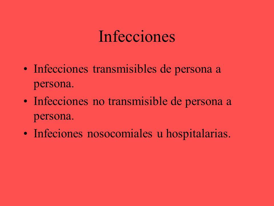 Infecciones Infecciones transmisibles de persona a persona.