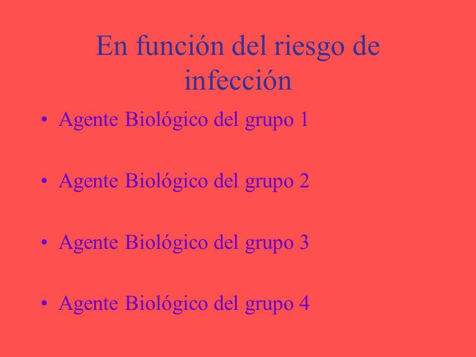 En función del riesgo de infección