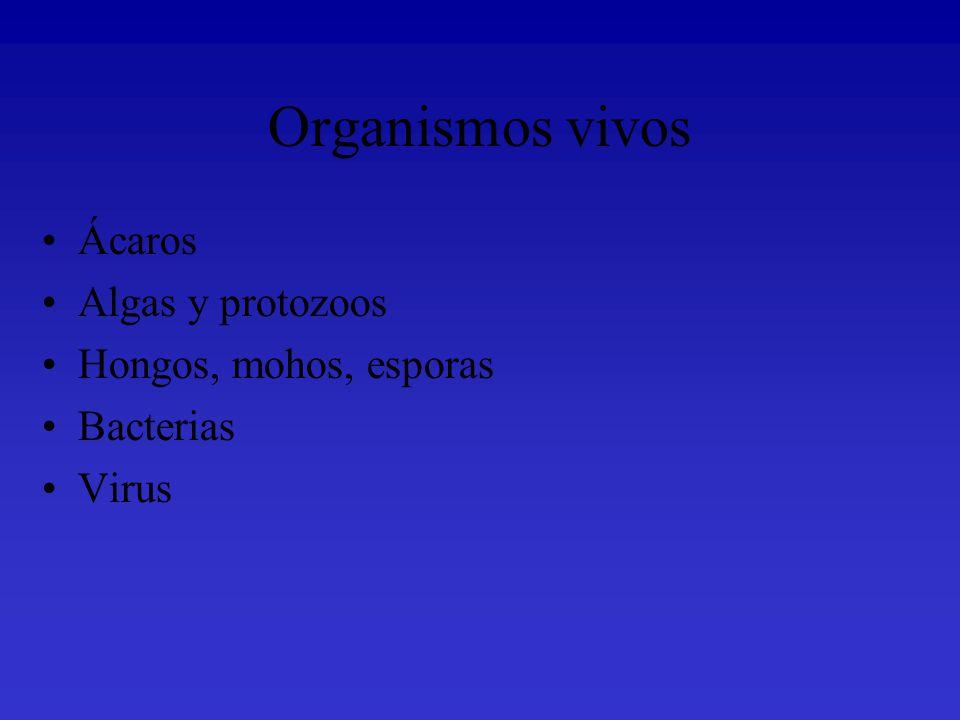 Organismos vivos Ácaros Algas y protozoos Hongos, mohos, esporas
