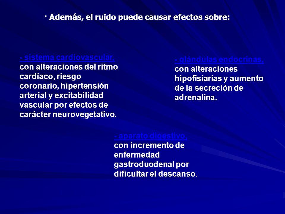 · Además, el ruido puede causar efectos sobre: