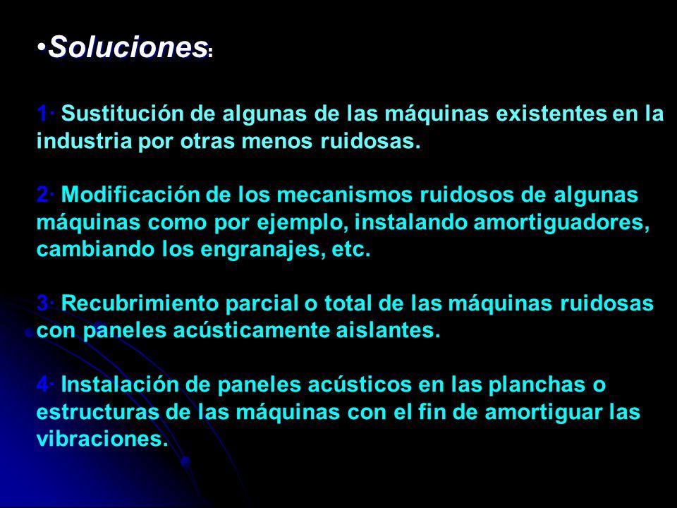 Soluciones: 1· Sustitución de algunas de las máquinas existentes en la industria por otras menos ruidosas.
