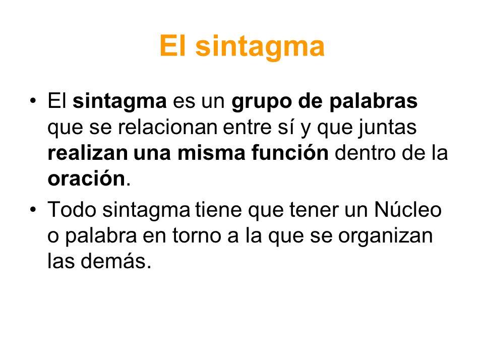 El sintagma El sintagma es un grupo de palabras que se relacionan entre sí y que juntas realizan una misma función dentro de la oración.