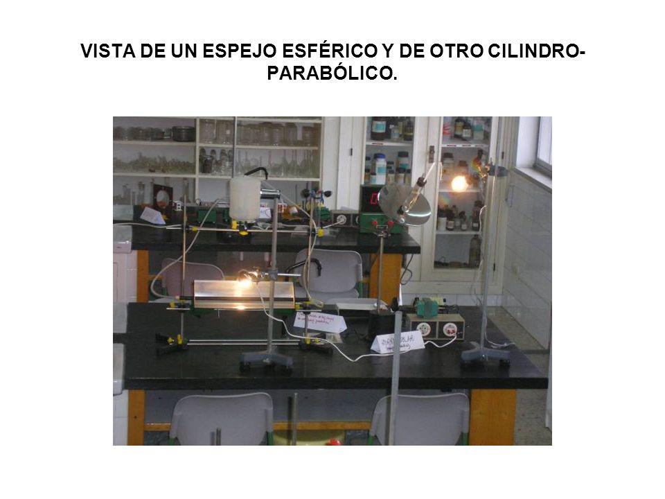 VISTA DE UN ESPEJO ESFÉRICO Y DE OTRO CILINDRO-PARABÓLICO.