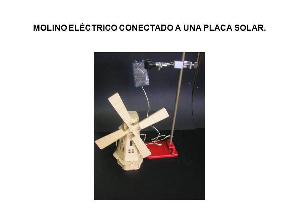 MOLINO ELÉCTRICO CONECTADO A UNA PLACA SOLAR.