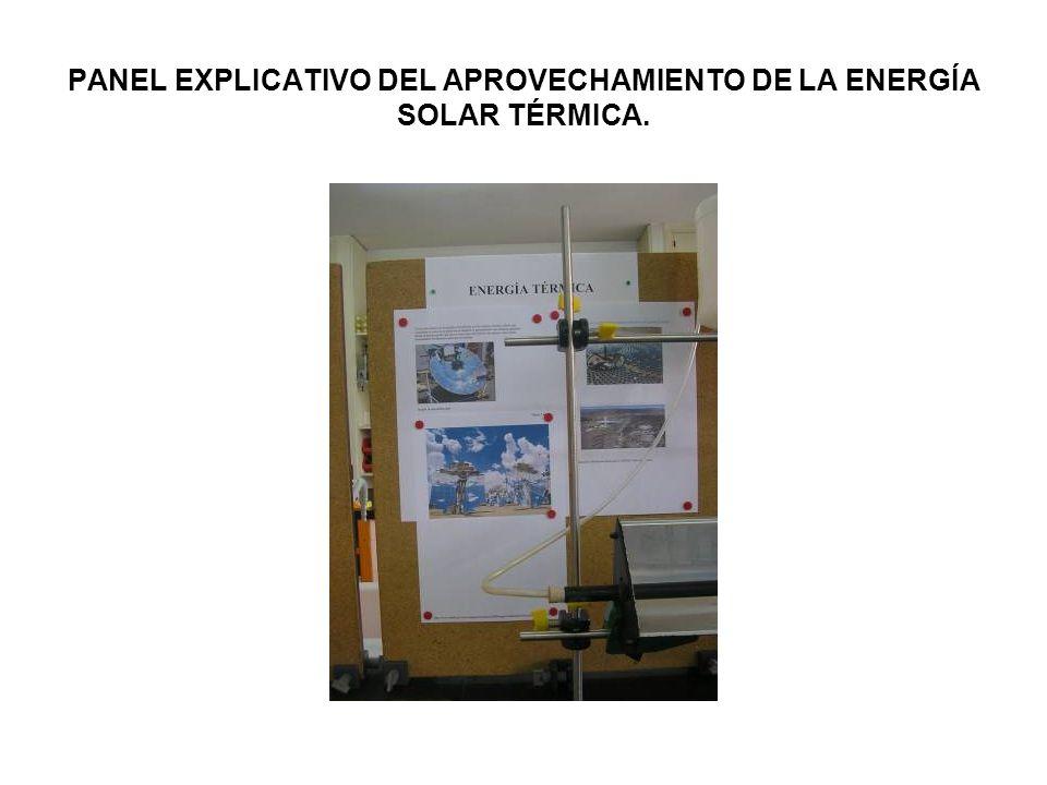 PANEL EXPLICATIVO DEL APROVECHAMIENTO DE LA ENERGÍA SOLAR TÉRMICA.