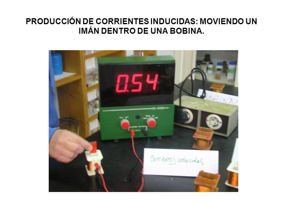PRODUCCIÓN DE CORRIENTES INDUCIDAS: MOVIENDO UN IMÁN DENTRO DE UNA BOBINA.