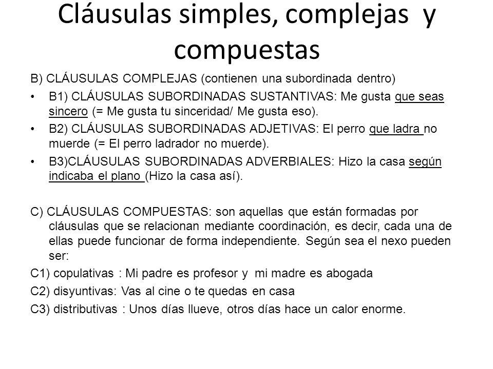 Cláusulas simples, complejas y compuestas