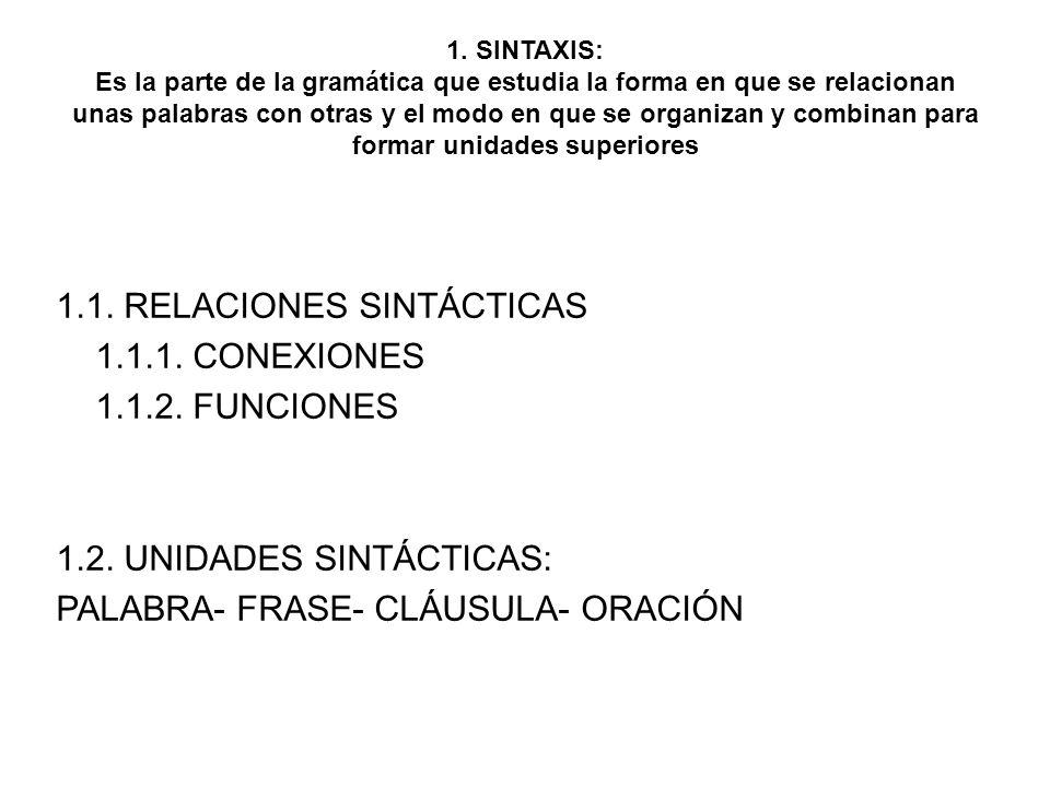1. SINTAXIS: Es la parte de la gramática que estudia la forma en que se relacionan unas palabras con otras y el modo en que se organizan y combinan para formar unidades superiores