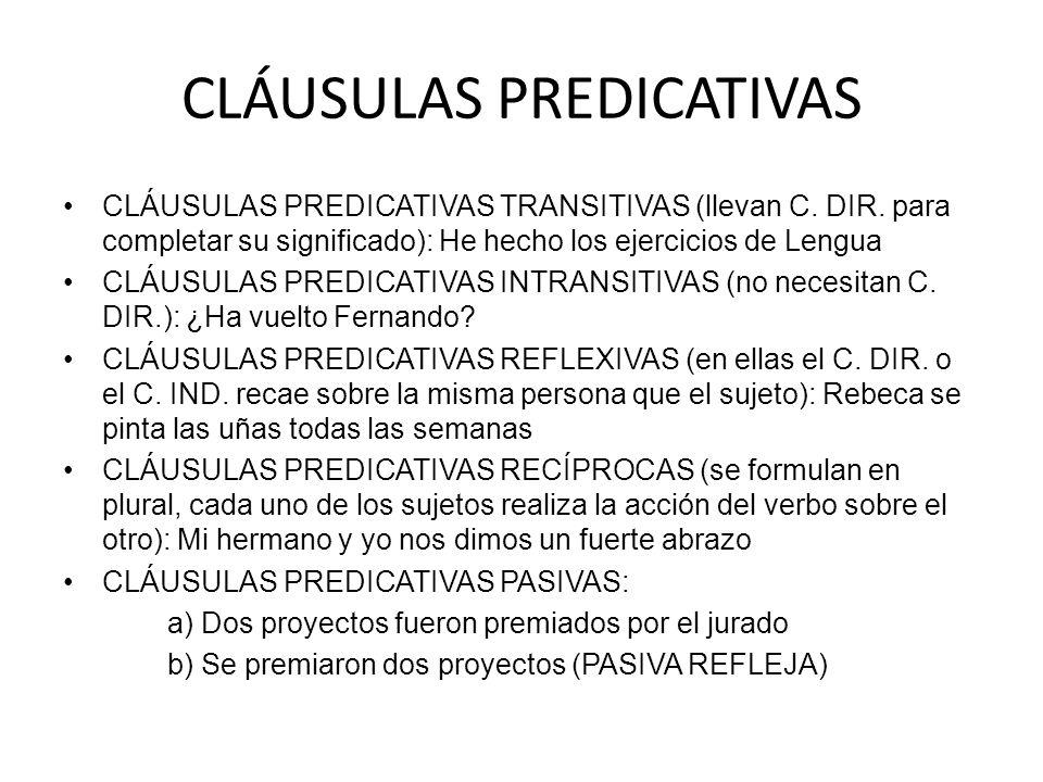 CLÁUSULAS PREDICATIVAS