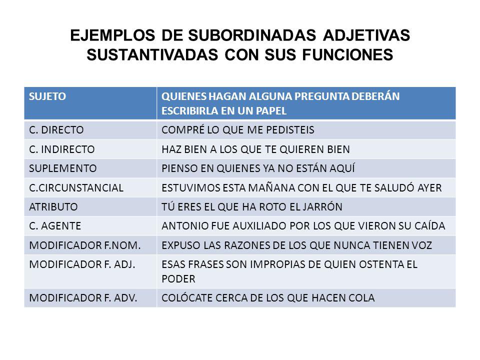 EJEMPLOS DE SUBORDINADAS ADJETIVAS SUSTANTIVADAS CON SUS FUNCIONES