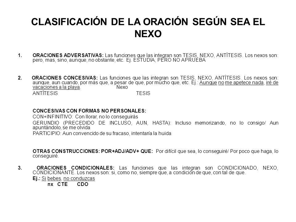 CLASIFICACIÓN DE LA ORACIÓN SEGÚN SEA EL NEXO