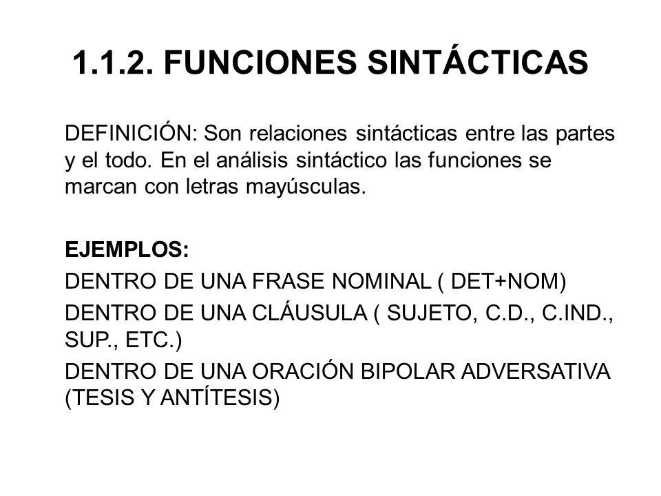1.1.2. FUNCIONES SINTÁCTICAS