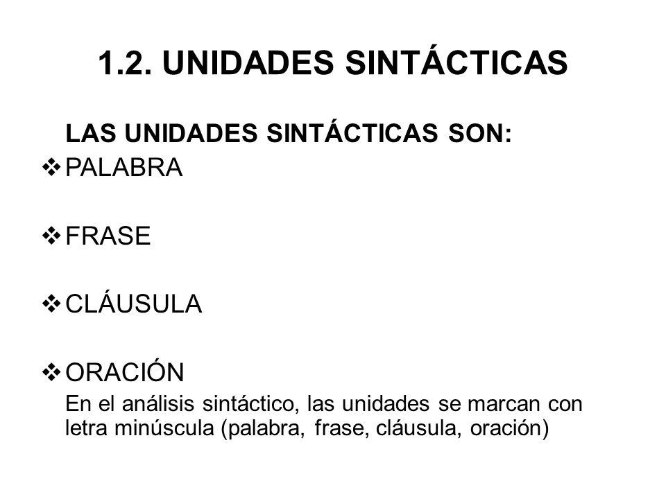 1.2. UNIDADES SINTÁCTICAS LAS UNIDADES SINTÁCTICAS SON: PALABRA FRASE