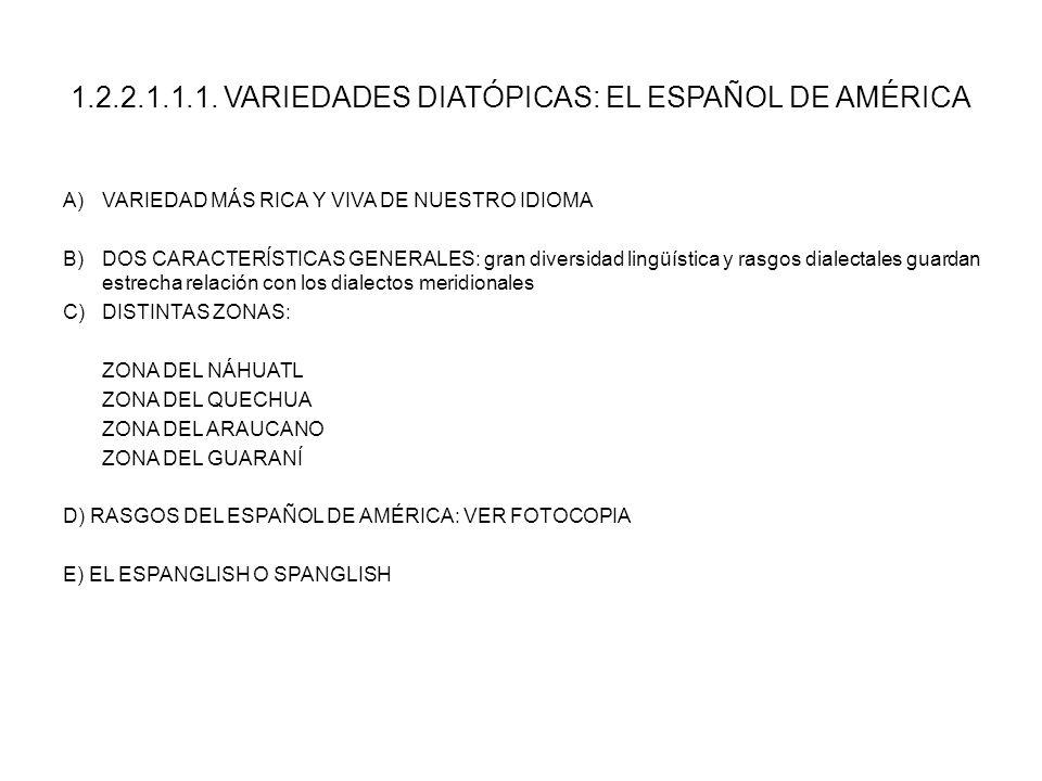 1.2.2.1.1.1. VARIEDADES DIATÓPICAS: EL ESPAÑOL DE AMÉRICA