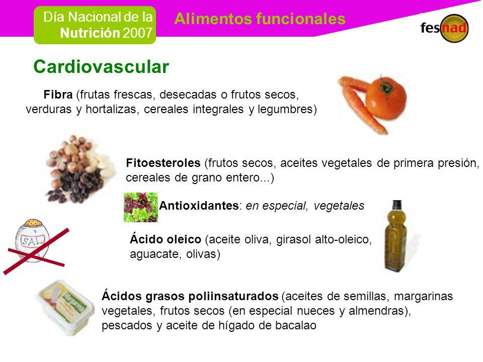 Cardiovascular Fibra (frutas frescas, desecadas o frutos secos, verduras y hortalizas, cereales integrales y legumbres)